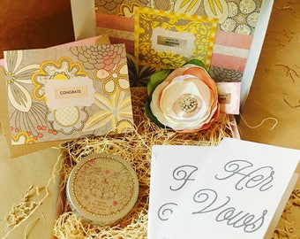Mini Showered {Bride} Box {large flower corsage + vow books}