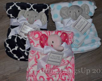 Personalized Baby Elephant Security Blanket Set, Lovey, Buddy - Great Baby Shower Gift