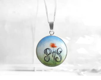 Personalized Necklace, Hand Painted Poppy Letter Necklace, Sterling Silver Wood Pendant Initial Jewelry, Chain Necklace, Tiny Painting,