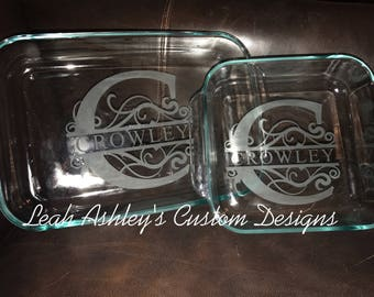 Custom casserole dish! Last name etched!