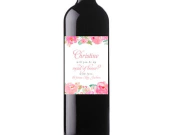 Printable Pink Flowers Custom Wine Labels, Floral Wedding Digital File, Personalized Wine Label, Be My Bridesmaid, Maid of Honor - Marla
