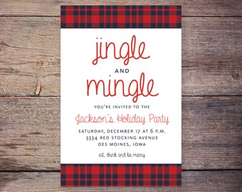 Jingle and Mingle Plaid Christmas Party Invitation, Flannel Holiday Party Invite, Printable Invitation, Print at Home Invites