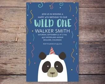 bear birthday invitation, panda bear invitation, bear birthday, wild one invitation, birthday invite, camping party birthday invitation