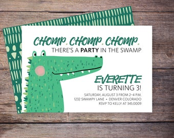 Chomp Chomp Chomp Gator, Alligator birthday invite, Printable Party Invitation, Swamp birthday, DIGITAL INVITATION –Everette