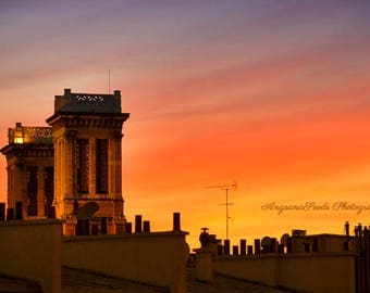 Paris sunset photograph Paris rooftop photo crimson sky photo blue orange red pink sky paris landscape photo paris travel print fit under 50