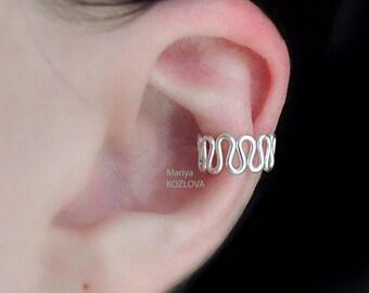 No Piercing Cartilage Ear Cuff Art Deco Waves/fake faux piercing/piercing imitation/cartilage ear cuff/conch earcuff/ear jacket wrap wires