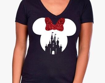 NEW IDEAL V NECK * Minnie Mouse Castle Red Glitter Bow * Women's Black Disneyland/Disney World Vacation * Run Disney Shirt