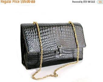 1970 Black croco embossed Leather purse / 70s croco purse gold chain