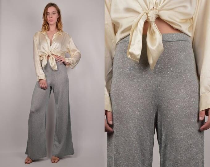 Silver High Waist Wide Leg Pants