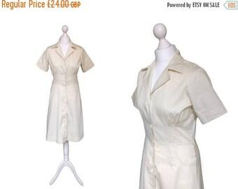 On Sale Vintage   | Spader Dam | Ivory Cream Dress | Vintage Shirt Dress | Belt Included