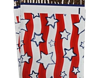 "On Sale 10"" x 13"" Stars & Stripes FLAT POLY MAILERS; Approved Shipping Mailers,  (20 Pack) Self Sealing Poly Mailers, Lightweight Poly Maile"
