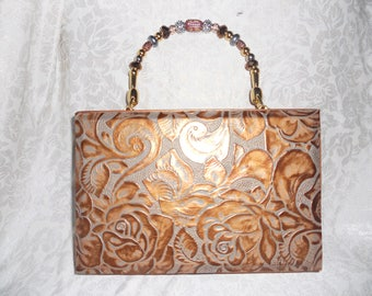 Cigarbox Purse, Copper/Silver Embossed Floral Leather , Tina ,Marie Purse Purse, Vintage