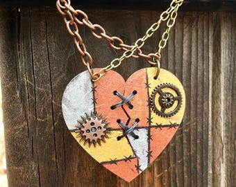 Ex Marks The Heart, Laser Cut, Broken Heart Necklace, Jack and Sally necklace, Statement Necklace, Stitched Heart, SteamPunk Necklace