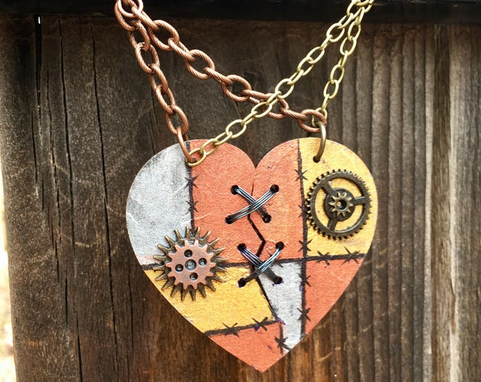 Featured listing image: Ex Marks The Heart, Laser Cut, Broken Heart Necklace, Jack and Sally necklace, Statement Necklace, Stitched Heart, SteamPunk Necklace