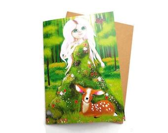 Woodland Card, Woodland Birthday, Cute Woodland Card, Woodland Gift, Fawn, Baby Deer, Woodland Animal, Bambi, Girl Woodland
