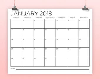 8.5x11 Inch 2018 Calendar Template | INSTANT DOWNLOAD | Thin Sans Serif Type Monthly Printable Minimal Desk or Wall Calender | Print Ready