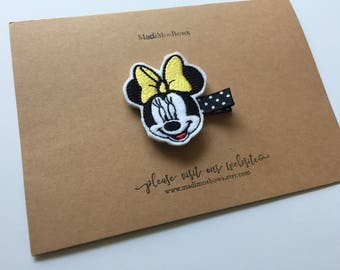 Adorable Mouse clip wrapped in ribbon MINNIE mouse inpsired