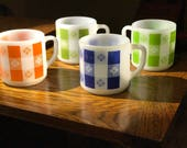Awesome Set of Vintage Federal Glass Milk Glass Coffee Mugs