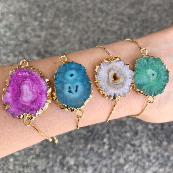 Geode bracelets, boho jewelry, festival jewelry