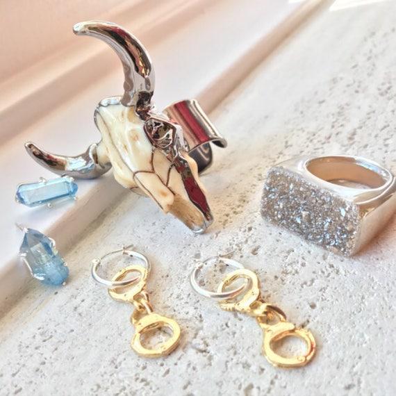 Handcuff Earrings, Druzy Ring, Longhorn ring, aqua aura quartz earrings