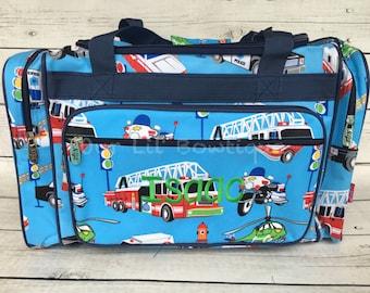 Boys Personalized Duffel Bag - Kids Bag - Large Overnight Bag - Personalized -  Kids Duffel Bag - Kids Overnight Bag - Police Car -Firetruck