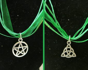 Silver Pentacle OR Triquerta Green Ribbon Necklace