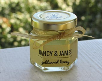 Assorted Flavors, Honey Favors for Wedding and Bridal or Baby Showers  2 oz Hex Jars, Meant to Bee, Love is Sweet