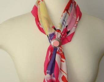 Vintage Pink and Red Flower Scarf - Square Light Scarves - Womens Accessories 1970s - Scarves and Allied Arts