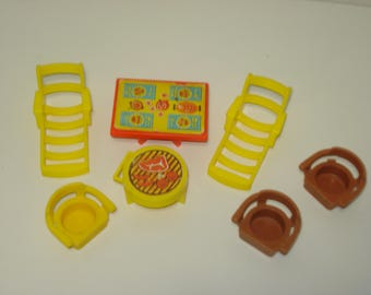 Fisher Price Furniture  - Barbecue Patio Set and Table -  Chairs -  Children's Toy - 1970's Retro Play