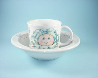Cabbage Patch Kid Bowl and Matching Mug - Childs Dinner Plate Set - 1980s
