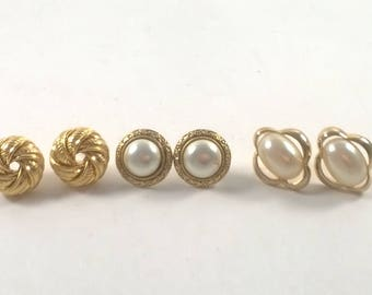 Vintage 1980s Gold Pearl Earrings  - Set of 3 - Pierced Fashion Jewelry -  Striped Studs