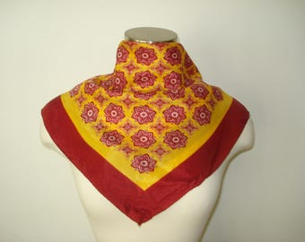 Vintage Orange Burgundy Scarf - Fall Bright Scarves - Womens Autumn Accessories - Scarves and Allied Arts
