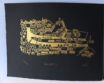 Bristol - Gold - Linocut print
