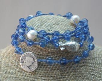 Underwater Blues Macrame Wrap Bracelet Karen's Hill Tribe Silver Quartz