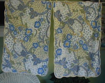Vintage Pillowslips, Standard Bed Size, Pair of Pillowslips, Provence Style Floral Print, Stylized Flowers, Blue and Yellow with Piping
