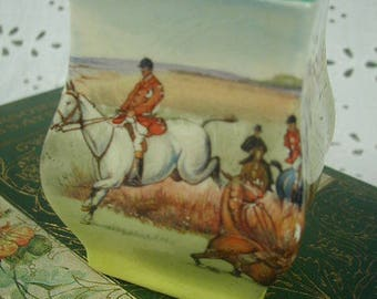 """Vintage Royal Doulton Miniature Vase, """"Fox Hunting"""", Equestrian Scenes, 1930's, Made in England"""