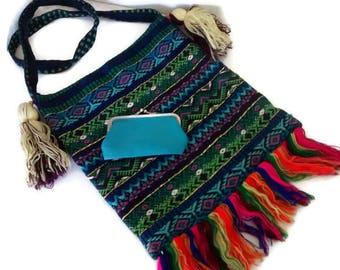 Vintage Boho Woven Tote Bag, Tribal Shoulder Bag, Satchel, Change Purse Festival Hand Bag