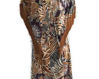Vintage 1970s Boho Fringe Dress and Shawl Tropical Print WILROY TRAVELLER New York  Designer Label
