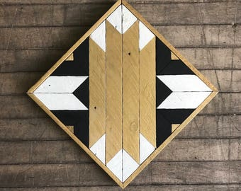 "Reclaimed Lath Wood Southwest Wall Art 13""x 13"" Gold/Black/White"