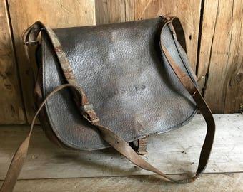 French Leather La Poste Bag, Engineer Case, Messenger Telegraph, Tool Satchel