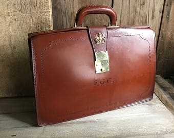 English Leather Briefcase Attache Portfolio Case Brass Badge Made in England