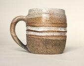 Black and Mat White Stripes Coffee Mug in Speckled Stoneware | Handmade Unglazed Pottery Mug