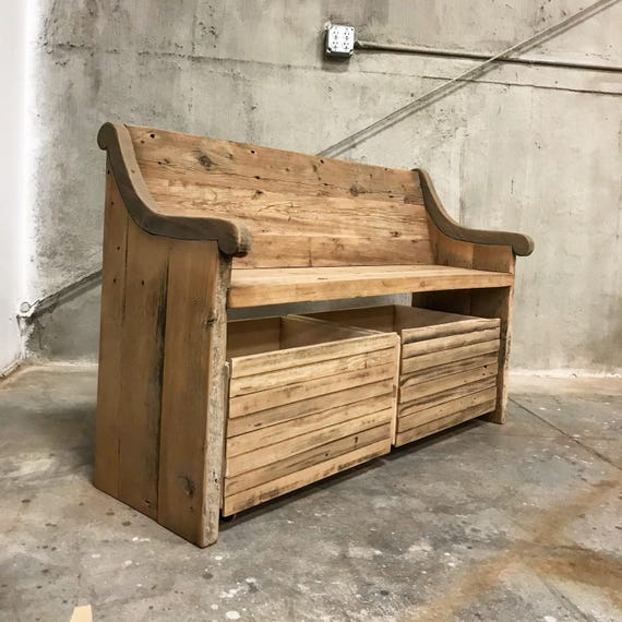 Reclaimed solid wood raw wax finish dining / entry /bedroom/footboard bench with storage boxes