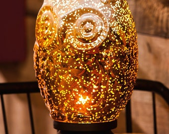 Amber Glow Mercury Glass Owl Lamp