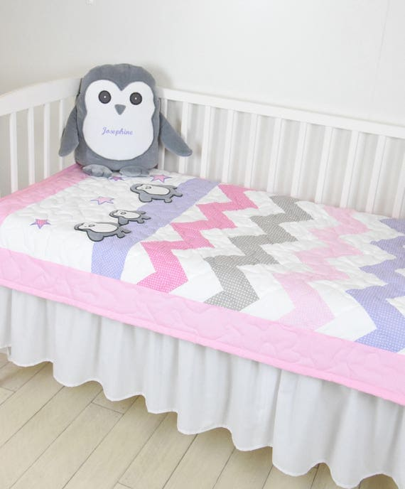 Penguin Crib Quilt, Pink Purple Gray Handmade Crib Quilt for Baby Girl