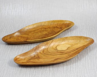 Pair of Vintage Hand Carved Long Shaped Wooden Shallow Pin Trays Wood Lightly Polished Finish