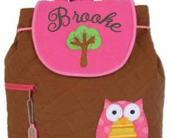 Backpack Quilted fabric Owl  Stephen Joseph includes-FREE personalization