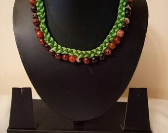 Indian Jewellry,     thread necklace , bollywood necklace,  adjustable Indian necklace choker, green thread with semi precious stones