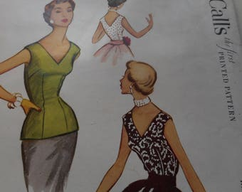 Vintage 1950's McCall's 9354 Sleeveless Blouse Sewing Pattern Size 14 Bust 32