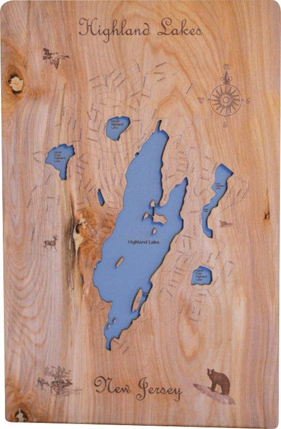 Wood Laser Cut Map of Highland Lakes NJ Topographical